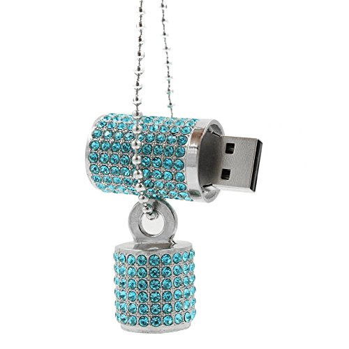 Shooo Chiavetta USB,Bling Rhinestone Diamond Crystal Glitter Rossetto Case Shining Jewelry Collana,8GB,Lake Blue