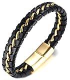 Halukakah  Honneur  Homme Bracelet en Cuir Véritable de Main Noire & Or Fermoir Magnétique en...