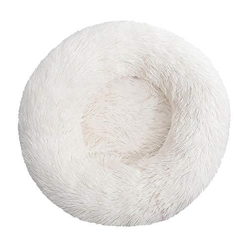 Cama para Mascotas de Lujo, Almohada Redonda de Felpa, cojín para sofá Cama para Gatos, para Uso Diario en el Centro de Mascotas en el hogar 80cm-Blanco