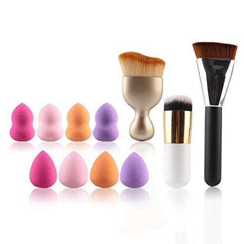 MEIYY Pinceau de maquillage 3Pcs Face Cosmetic Powder Foundation Concealer Brushes Blending Contour Make Up With 4Pc Droplets Puff 4Pc Gourd Puff