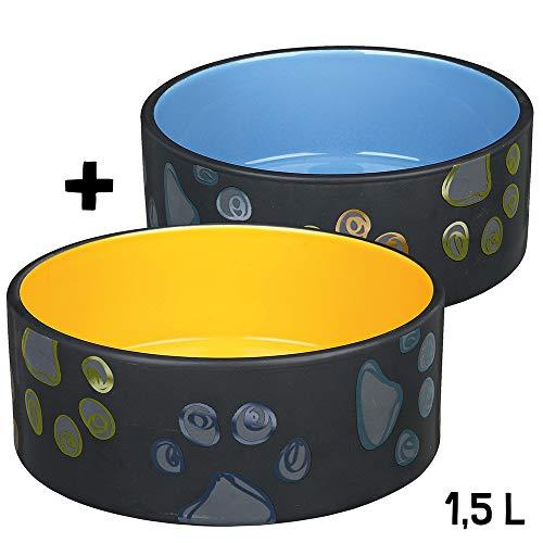 Keramiknäpfe Jimmy Set 1,5 l blau und orange Hundenapf So schön können Hundenäpfe Sein!