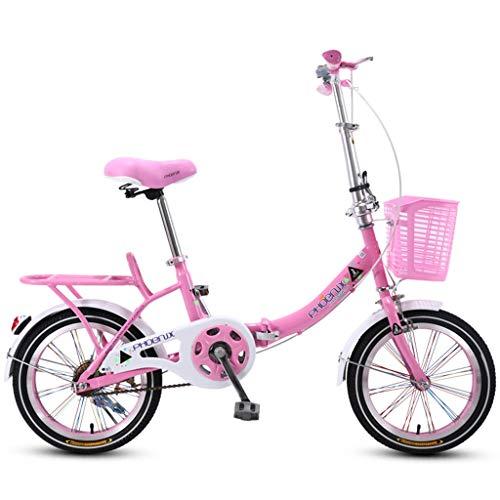 Bicicletas Triciclos Plegable para Niños De Color Rosa Niña De 20 Pulgadas Carretera para Estudiante Hermosa Adecuada para Niños De 3 A 16 Años
