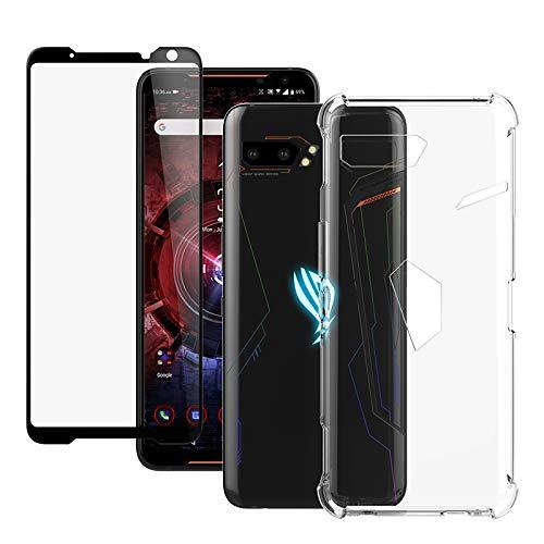 Capa para celular ASUS ROG da Feitenn, vidro temperado ROG Phone 2, capa protetora de tela para jogos de TPU flexível transparente, fina, leve e à prova de choque para ASUS ROG Phone 2 2019 (capa e vidro)