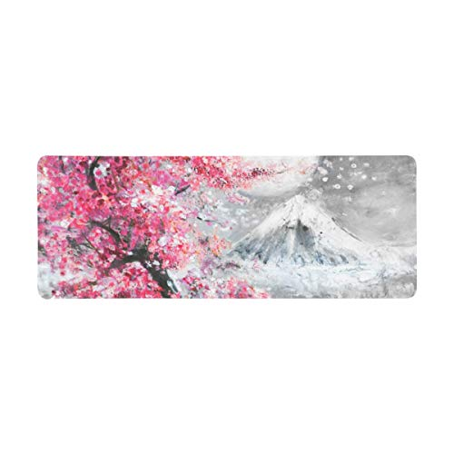 InterestPrint Soft Extra Extended Large Gaming Mouse Pad with Stitched Edges, Desk Pad Keyboard Mat, Non-Slip Base for Office & Home, 31.5 x 12In - Landscape with Cherry Blossom and Mountain