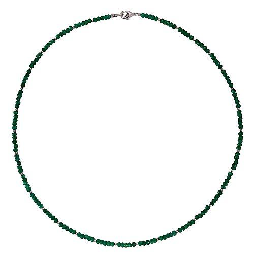 I-be, Smaragd-Quarz Edelstein Collier/ Kette, 925 Sterling Silber Karabinerverschluss, im Geschenketui 4449/42