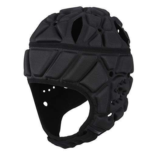 Surlim Soft Helmet Flag Football Rugby Helmet Scrum Cap Soft Shell Helmet Soccer Headgear Special Needs Head Protection for Youth Adults (Black, Large)