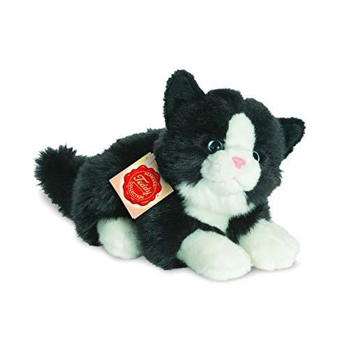 Teddy Hermann Plüsch Katze liegend schwarz/weiß