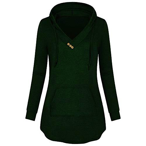 Trisee Damen Sweatshirts Einfarbig Kapuzenpullover Loose Hoodies V-Ausschnitt Kordelzug Sweatjacke Beiläufig Langarmshirt Grosse Grössen Outdoor Streetwear