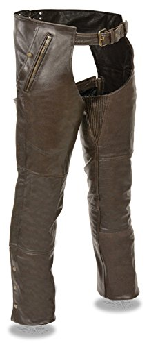 Milwaukee MENS MOTORCYCLE RETRO BROWN SOFT LEATHER CHAP FULLY LINED W/4 POCKETS SNAP ZIP (3XL Regular)