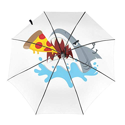 CHAN03 Pizza Shark Automatic Tri-fold Sunscreen Umbrellas Folding Umbrella