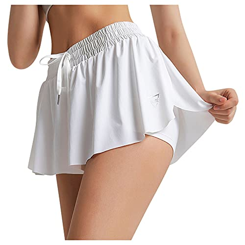 melupa Pleated Tennis Skirts with Shorts for Women Athletic Golf Skorts Activewear Casual Mini Flared Plain Skater Skirt White