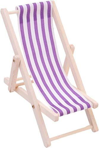 1:12 Casa de muñecas Mini Muebles de Playa Tumbona de Madera Sillón con Raya púrpura