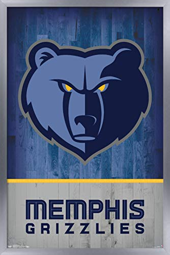 "Trends International NBA Memphis Grizzlies - Logo 18 Wall Poster, 22.375"" x 34"", Silver Framed Version image"