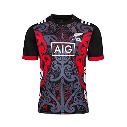 CRBsports Team New Zealand, Maori All Blacks, Rugby-Trainingstrikot, New Fabric Embroidered, Swag Sportswear (Schwarz, M)
