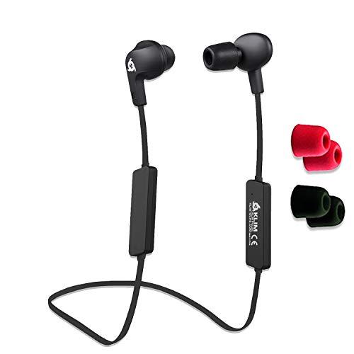 KLIM Pulse - Auriculares Bluetooth 4.1 - Nueva 2020 - Cascos inalámbricos - Reducción de Ruido Deporte, Música, Llamadas, Juegos, etc. Magnéticos, con Nueva Espuma de Memoria Negro