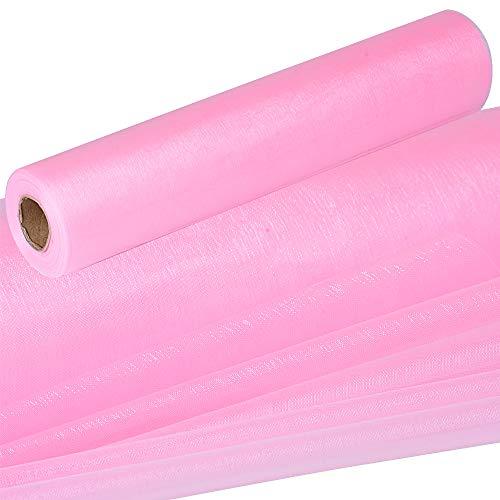(26m * 29cm) Rotolo Tulle Rosa Poliestere Decorativo Bobina Decorazione Fai da Te per Sedie Tavolo Matrimonio Feste