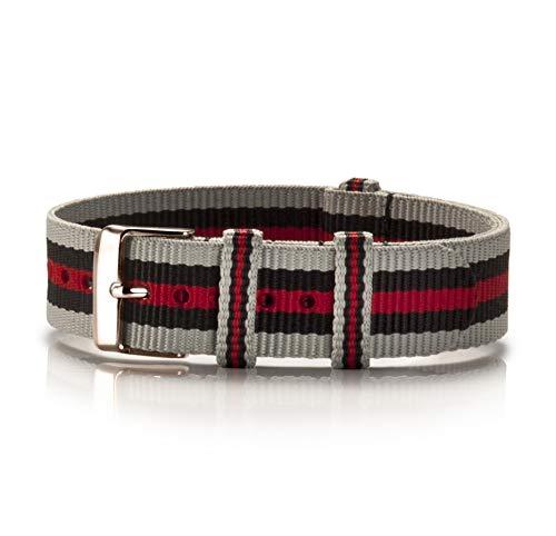 NATO Armband Textil Chinza Preto grau-schwarz-rot Kupfer