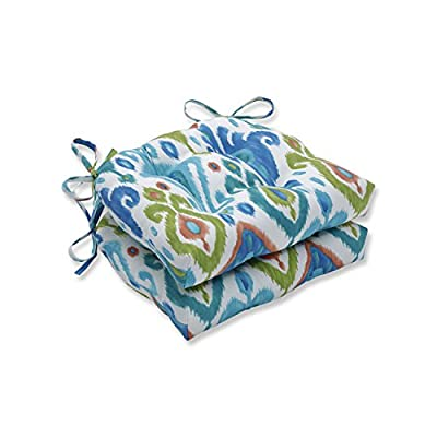 """Pillow Perfect Outdoor/Indoor Paso Caribe Chair Pads, 15.5"""" x 14.5"""", Blue, 2 Count"""
