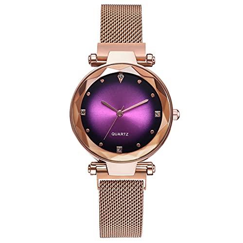 cloudbox Reloj de cuarzo con diamantes de imitación - Reloj de cuarzo decorado con diamantes de imitación Reloj de pulsera de correa de malla de oro rosa (rosa rojo) para hombres