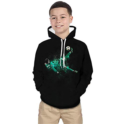 ULIIM Kinder 3D Kapuzenpullover Super-Fußball Sterne CR7 3D Print Hoodie Sweatshirt Casual Pullover Jacke Mantel Gr. 150 cm, Cr7-3