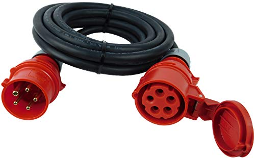NWP CEE-Verlängerung 5m 400V 32A, Schwarz, IP44 5x4mm² H07RN-F - Gummischlauchleitung, Verlängerungskabel für Baustelle, Industrie, Außenbereich