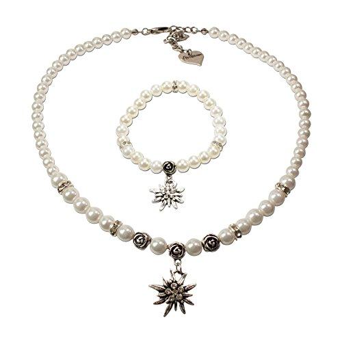 Schmuckset Trachtenkette Perlenkette und Edelweiß-Armband - Damen Dirndlkette und Perlenarmband zur Trachtenbluse, Halskette Strass-Edelweiss, Oktoberfest Dirndl-Schmuck, Trachtenschmuck (creme-weiß)