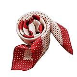 Laprée – Pañuelo de seda para mujer, cuadrado, 14 m de Twill de seda, alta calidad, diseño de lunares polka seda 100% natural, 90 x 90 cm Pois Rouge 90*90 cm