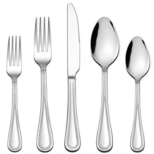 LIANYU 30-Piece Silverware Set, Stainless Steel Flatware Set for 6, Fancy Cutlery Eating Utensils with Pearled Edge, Home Kitchen Restaurant Tableware Include Knives Spoons Forks, Dishwasher Safe