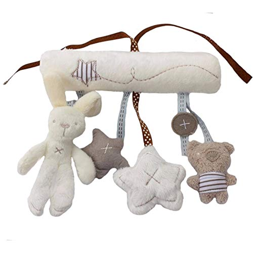 FENGHU Rabbit Poupée Peluches Rabbit Baby Hanging Bed Safety Seat Plush Toy Hand Bell Multifunctional Plush Toy Stroller Mobile Gifts