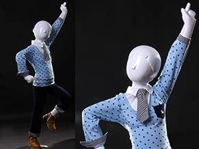 (MZ-TOM3) Abstract Child (Kid) Mannequin Glossy White, Fiberglass, Standing Pose.