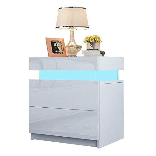 YOLEO Nachttisch Nachtschrank LED Nachtkommode Nachtkonsole Hochglanz/Front Kommode Schrank mit 2 Schubladen- LED Beleuchtung -für Schlafzimmer/Wohnzimmer (Weiß / 45x35x52)