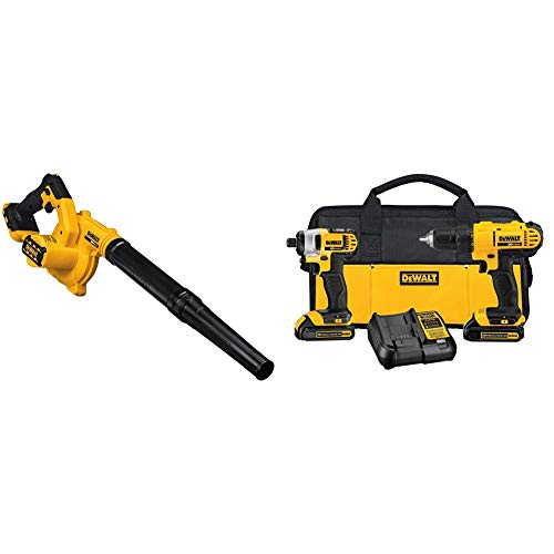 DEWALT 20V MAX Blower for Jobsite, Compact, Tool Only (DCE100B) with DEWALT 20V MAX Cordless Drill Combo Kit, 2-Tool (DCK240C2)