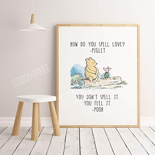 SDFSD Cartoon Movie Cute Bear Aquarell Poster drucken Kinderzimmer Dekoration Kinderzimmer Art Decor Home Decor Wandkunst Leinwand Malerei 60 * 100cm