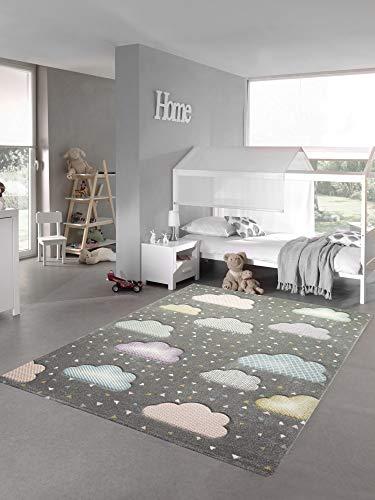 Teppich-Traum Alfombra Infantil en la Nube Alfombra para habitación Infantil en Gris Azul Rosa Größe 160x230 cm
