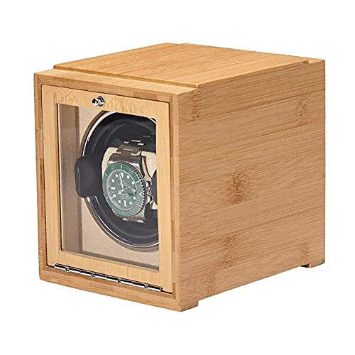 UOOD Caja de Raya automática de Relojes Individuales con Motor Tranquilo - Piano de Madera Maciza Premium Exterior y Suave Almohadas de Reloj Flexibles Excelente Mano de Obra (Color : Apricot)