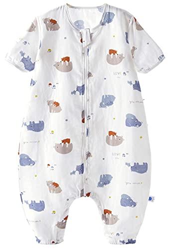 Chilsuessy Saco de dormir de verano para bebé, con pies, manga corta, saco de dormir para niños, pijamas, mono de pijama, 100 % algodón, familias de oso, XL/bebé altura 105 – 115 cm