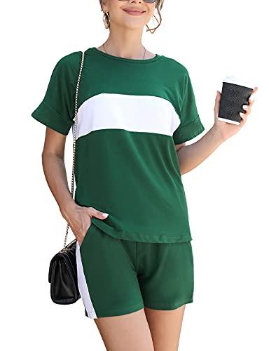 Doaraha Pijama Mujer Verano Corto, Conjunto de Camisaeta con Cuello Redondo y Pantalón Corto, Traje Corto Casual De Dos Piezas Mujer, Conjunto de Chándal Deportivo Corto Mujer, Verde, XXL
