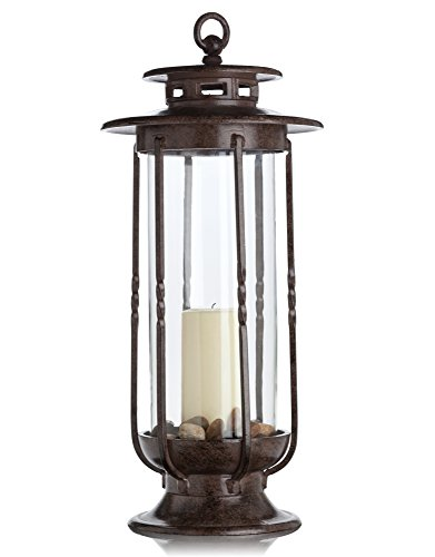 H Potter Large Decorative Hurricane Lantern Glass Candle Holder Cast Iron Rustic Indoor and Outdoor Light with Powder Coat Finish Centerpiece for Home Wedding Farmhouse Decor