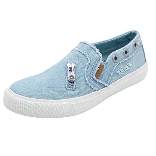 MRULIC Damen Erbsen Schuhe Sommer Flach Mit Boden Lässig Einzelne Schuhe Reißverschluss Einzelne Schuhe(Blau,42 EU)