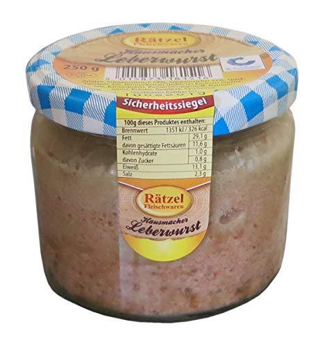 Leberwurst im Glas 250g - Hausmacher Leberwurst - leckerer Brotaufstrich - Kochwurstspezialität aus Schweinefleisch und frischer Leber WF-18144