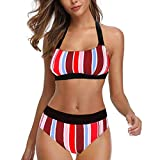 LANSKIRT Bikini Mujer Traje de Baño Tallas Grande con Rayas Multicolores Bikinis Push Up Trikini Tanga de Verano Biquini Ropa de Playa Secado Rápido Bañadores Modernas S-5XL