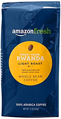 AmazonFresh Direct Trade Rwanda Whole Bean Coffee, Light Roast, 12 Ounce