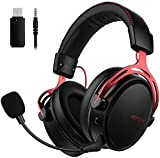 Mpow Wireless Gaming Headset for PS4, PC, with Double Chamber Drivers, Xbox One Headset with Detachable Noise Cancelling Microphone, Ultra Low-Latency Gaming Headphones