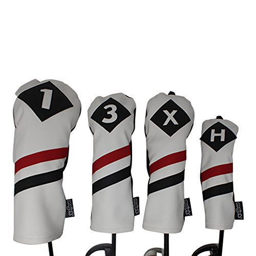 Majek Retro Golf Headcovers White Red and Black Vintage Leather Style 1 3 X H Driver Fairway and Hybrid Head Covers Fits 460cc Drivers Classic Look