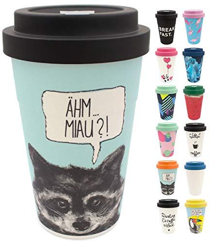 holi. Coffee-to-Go Bambus-Becher mit Schraubdeckel | nachhaltiger Kaffeebecher mit Verschluss | Mehrweg-Becher Bamboo-Cup | Woodcup, lebensmittelecht, spülmaschinenfest (Raccoon Black)