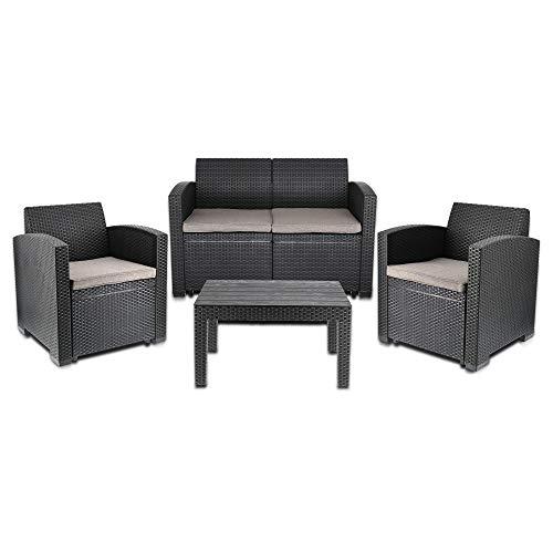 Cepewa Sitzgruppe 4 TLG. Polyrattan inkl. Auflagen für den Outdoorbereich anthrazit/Creme Gartenmöbel Loungemöbel - 2