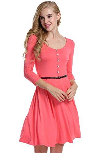 Zeagoo Damen Skaterkleid Jerseykleid A Linie Rundhals 3/4 Arm Basic Stretch Kleid Freizeitkleid Sommerkleider Koralle M