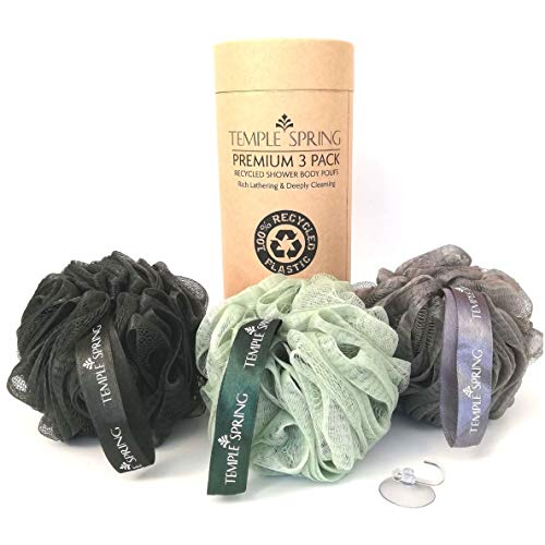 Temple Spring, Eco Recycled Shower Pouf, Bath Loofah, Body Brush, Mesh...
