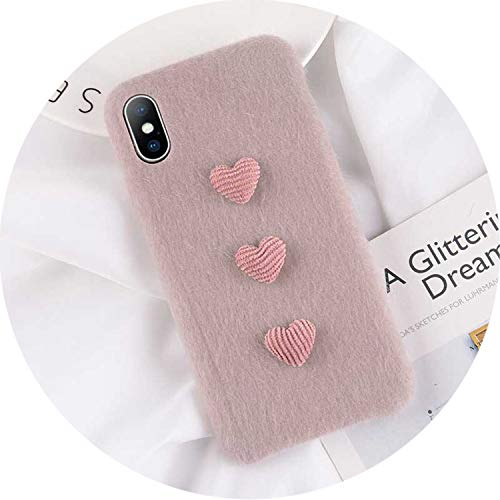 iPhone 8 7 6 6S Plus Hülle für iPhone X XR XS Max Winter Warm Pelz Cover, for iPhone 7 Plus, Heart Gray