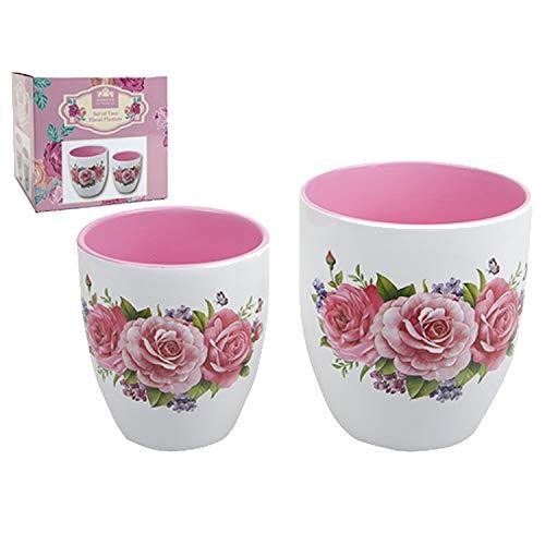 PMS - Set di 2 fioriere con Motivo Floreale, Ideale per la Festa della Mamma o per abbronzare Il Giardino